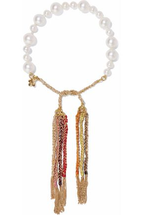 CAROLINA BUCCI Fringed 18-karat gold, pearl and cord bracelet