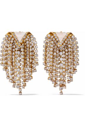 ELIZABETH COLE Gold-tone, stone and crystal earrings