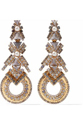ELIZABETH COLE Gold-tone, faux pearl, stone and crystal earrings