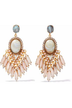 ELIZABETH COLE Gold-tone crystal, faux pearl and stone earrings