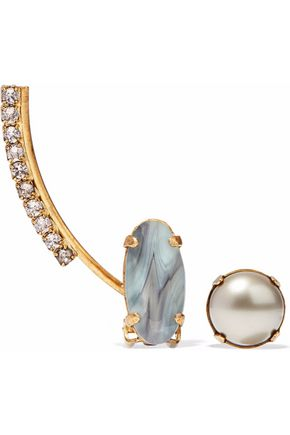 ELIZABETH COLE Convertible gold-tone stone, faux pearl and crystal earring