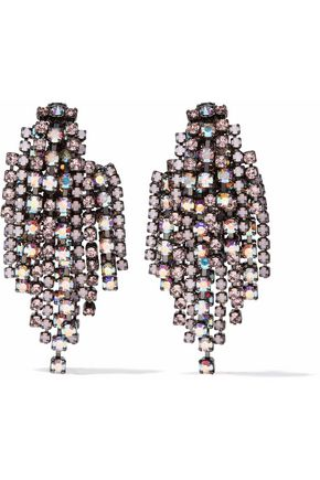 ELIZABETH COLE Gunmetal-tone crystal earrings