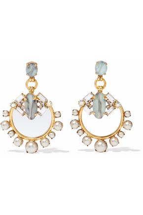 ELIZABETH COLE Gold-tone, stone, crystal and faux pearl earrings