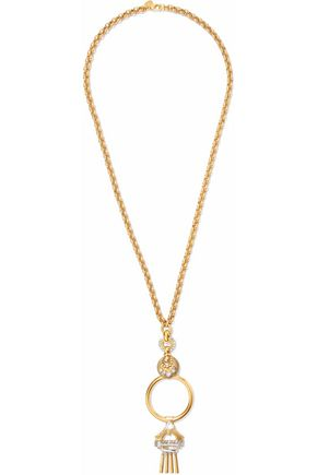 ELIZABETH COLE Burnished gold-tone crystal necklace