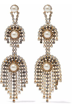 ELIZABETH COLE Gold-tone, faux pearl and crystal earrings