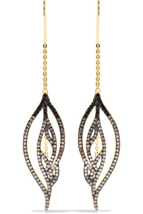 NOIR JEWELRY Luminous Threader gold-tone crystal earrings