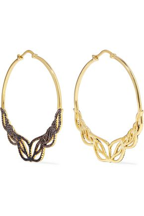 NOIR JEWELRY Glowing Hoop gold-tone crystal hoop earrings