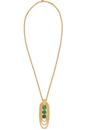 BEN-AMUN Gold-tone and stone necklace