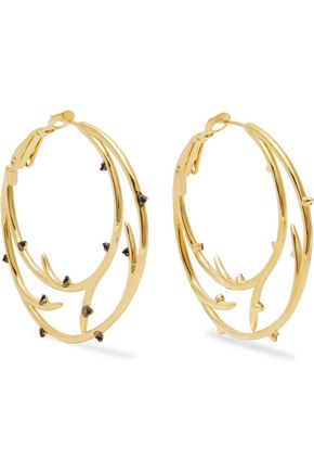NOIR JEWELRY Enchanted gold-tone crystal hoop earrings