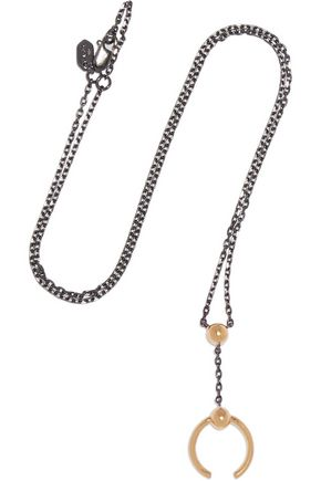 MARIA BLACK Phoenix gunmetal and gold-tone necklace
