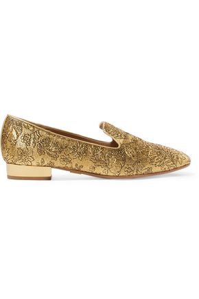 MICHAEL KORS COLLECTION Roxanne embroidered metallic mesh loafers