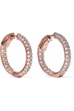 KENNETH JAY LANE Rose gold-tone crystal hoop earrings