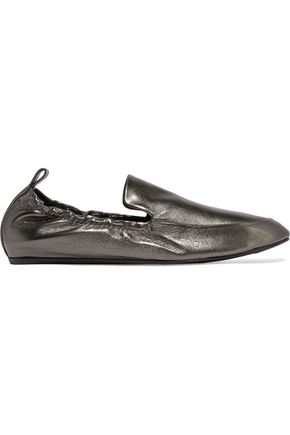 LANVIN Metallic leather loafers