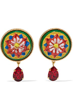 DOLCE & GABBANA Gold-tone, resin and crystal clip earrings