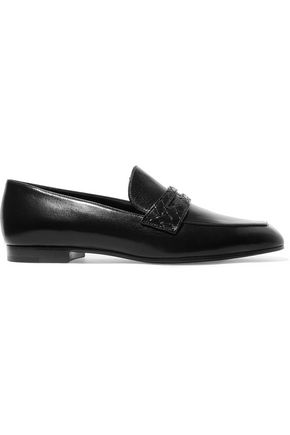 BOTTEGA VENETA Intrecciato-trimmed leather loafers