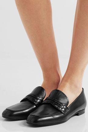 new for sale cheap fashion Style Bottega Veneta Intreciatto-Trimmed Leather Loafers cheap sale Inexpensive free shipping explore nOMJLZvsV