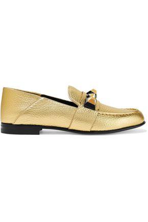 FENDI Studded metallic textured-leather loafers