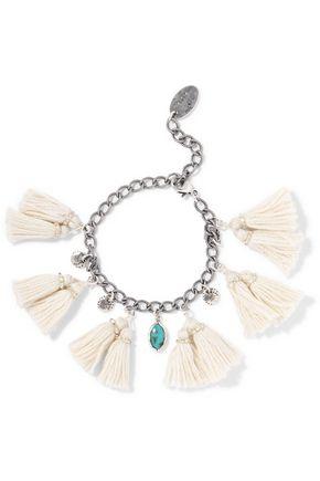 CHAN LUU Tasseled silver and turquoise bracelet
