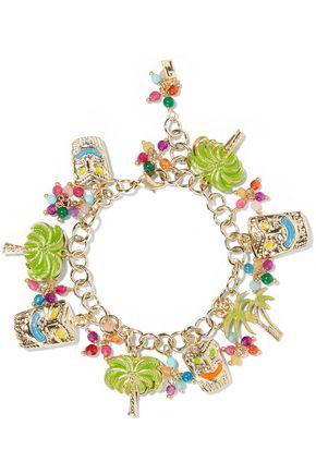 ROSANTICA Enameled gold-tone beaded charm bracelet