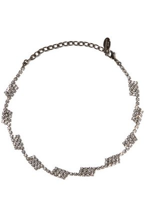 ELIZABETH COLE Hematite-plated Swarovski crystal necklace