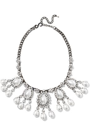 KENNETH JAY LANE Gunmetal-tone crystal and faux pearl necklace