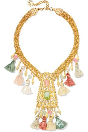 BEN-AMUN Gold-plated faux pearl, bead, stone and tassel necklace