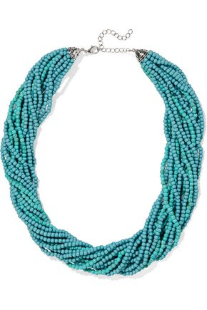 KENNETH JAY LANE Silver-tone beaded necklace