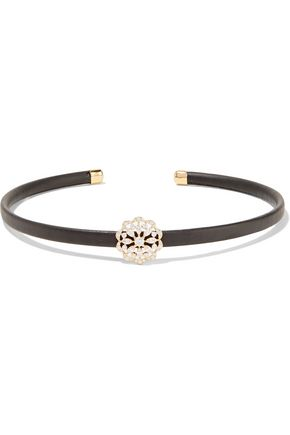 KENNETH JAY LANE Gold and silver-tone leather choker