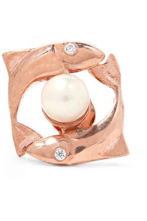 AAMAYA by PRIYANKA Pisces rose gold-plated, faux pearl and cubic zirconia earring
