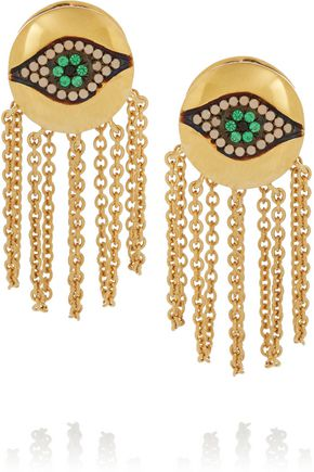 EYE M by ILEANA MAKRI Dawn Chain gold-plated cubic zirconia earrings