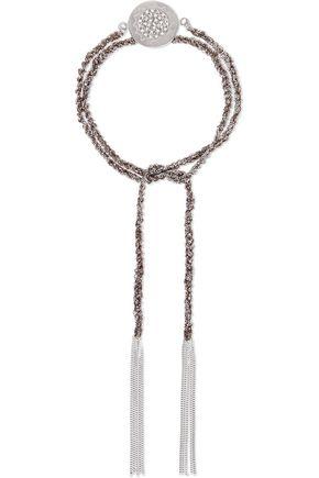 CAROLINA BUCCI Energy Lucky 18-karat white gold, diamond and silk braided bracelet