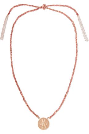 CAROLINA BUCCI Baby Boy Lucky 18-karat rose gold, diamond and silk necklace