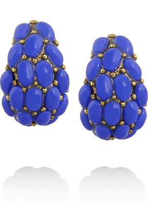 KENNETH JAY LANE Gold-plated cabochon clip earrings