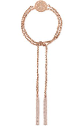 CAROLINA BUCCI Peace Lucky 18-karat rose gold, diamond and silk braided bracelet