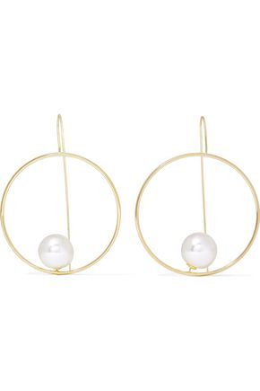 KENNETH JAY LANE Gold-tone faux pearl hoop earrings