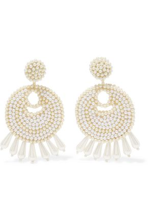 KENNETH JAY LANE Gold-tone faux pearl earrings