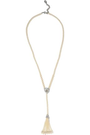 BEN-AMUN Tasseled silver-tone, faux pearl and crystal necklace
