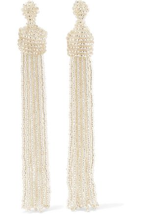 KENNETH JAY LANE Tasseled silver-tone bead earrings