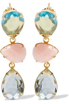 BOUNKIT Gold-tone crystal and stone earrings
