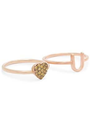 AAMAYA by PRIYANKA Heart U rose gold-plated set of two rings