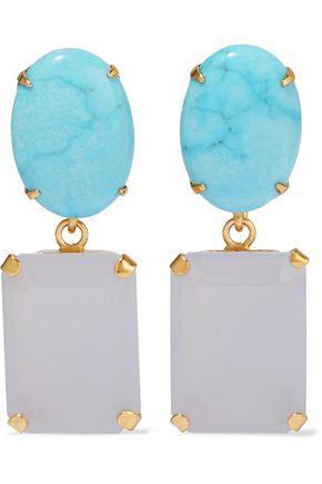 BOUNKIT Gold-tone stone earrings