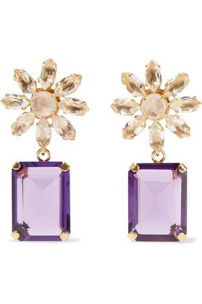 BOUNKIT Gold-tone quartz and amethyst earrings