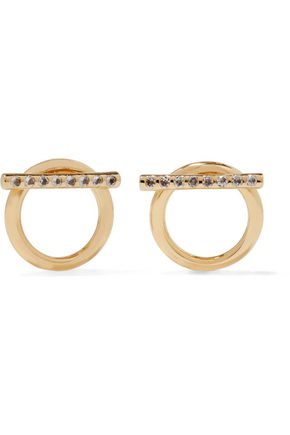 ELIZABETH AND JAMES Leo crystal-embellished gold-tone earrings