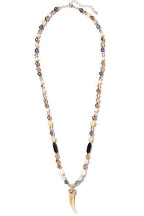 KENNETH JAY LANE Gold-tone, stone and horn necklace