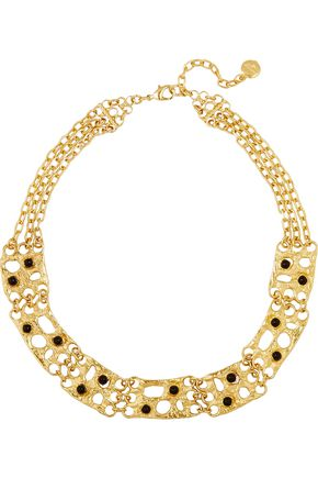 BEN-AMUN Gold-plated black cabochon necklace