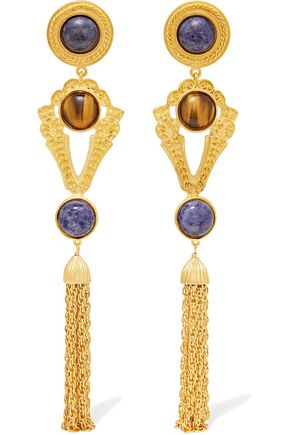 BEN-AMUN Gold-tone stone clip earrings