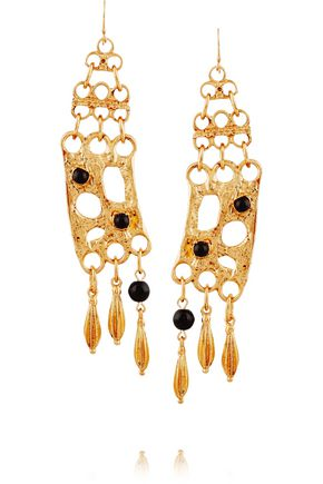 BEN-AMUN Gold-plated and cabochon earrings