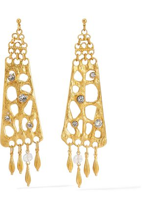BEN-AMUN Gold-tone crystal earrings