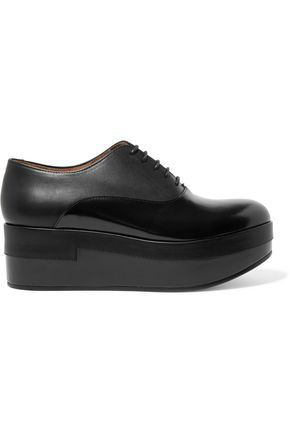 MAISON MARGIELA Paneled glossed-leather platform brogues