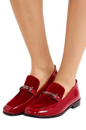NEWBARK Melanie leather-trimmed denim loafers